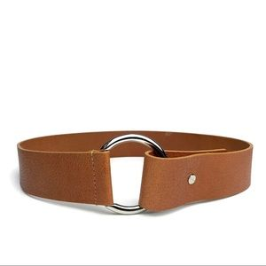Italian Leather Belt brown Silver Round Buckle